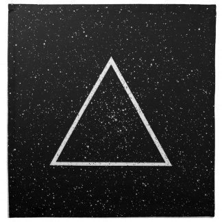 White triangle outline on black star background napkin