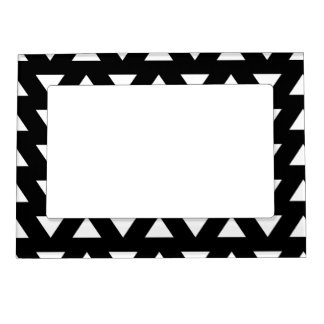 White Triangles on Black. A geometric Pattern. Magnetic Frame