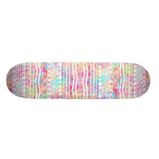 White Tribal Abstract Aztec Neon Rainbow Splatters 21.3 Cm Mini Skateboard Deck