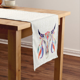 White Tribal Bull Skull And Feathers Short Table Runner
