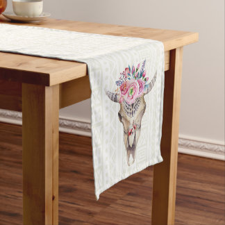 White Tribal Bull Skull Short Table Runner