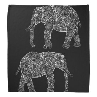 White Tribal Paisley Elephants Henna Illustration Bandana