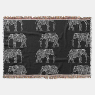 White Tribal Paisley Elephants Henna Illustration Throw Blanket