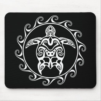 White Tribal Turtle Mouse Mat