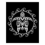 White Tribal Turtle Poster