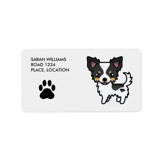 White Tricolor Long Coat Chihuahua Cartoon Dog Address Label