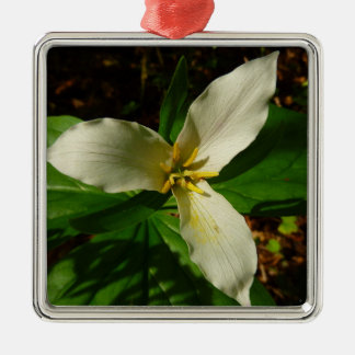 White Trillium Flower Spring Wildflower Christmas Ornament