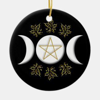 White Triple Moon & Gold Pentagram w/ Holly Leaves Round Ceramic Decoration