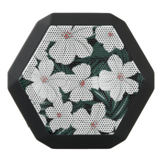 White Tropical Flowers Pattern Black Bluetooth Speaker