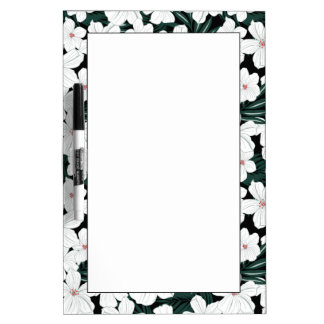 White Tropical Flowers Pattern Dry Erase Board