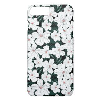 White Tropical Flowers Pattern iPhone 8 Plus/7 Plus Case