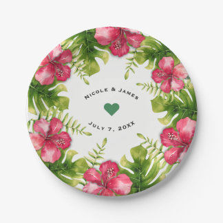White Tropical Hibiscus Leaves Chic Wedding Party Paper Plate