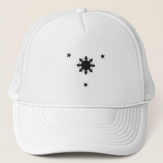 white truck hat 3 stars and a sun