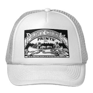 White Trucker Hat w/ Paint Creek Prints logo