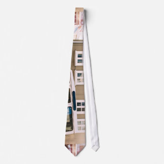 White trunk and house with windows tie