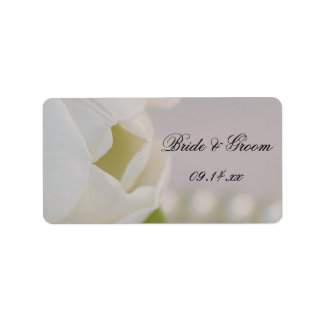 White Tulip and Pearls Spring Wedding Favor Tag