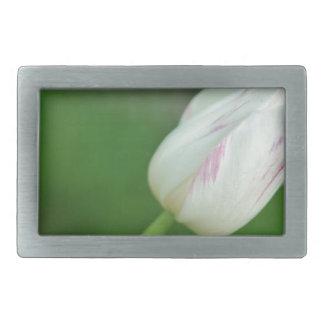 White Tulip Rectangular Belt Buckle