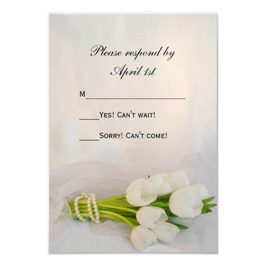 White Tulip Bouquet Spring Wedding RSVP Card