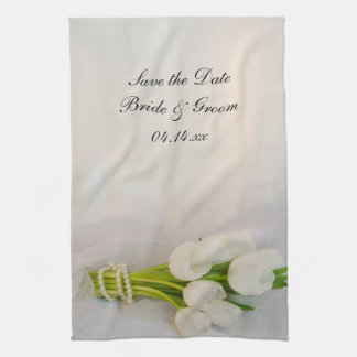 White Tulip Bouquet Spring Wedding Save the Date Tea Towel