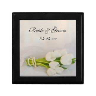 White Tulip Bouquet Spring Wedding Small Square Gift Box
