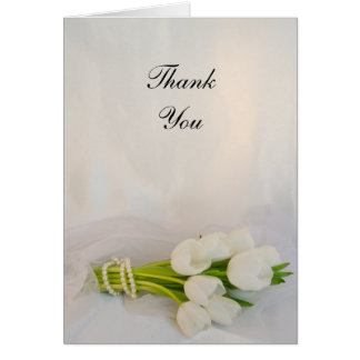 White Tulip Bouquet Spring Wedding Thank You Note Card