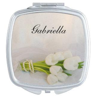 White Tulip Bouquet Spring Wedding Travel Mirror
