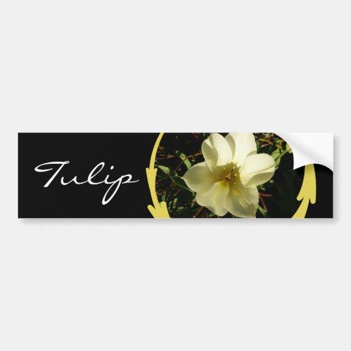 White Tulip Bumper Sticker