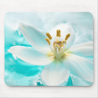 White Tulip Flower Blue Water Pond Aqua Turquoise Mouse Mat