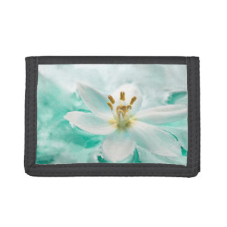 White Tulip Flower Blue Water Pond Tropical Flower Trifold Wallet
