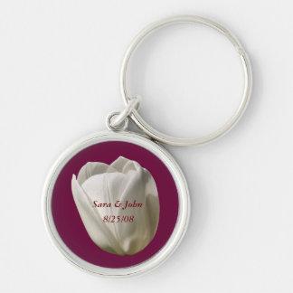White Tulip Flower Wedding Date Keychain