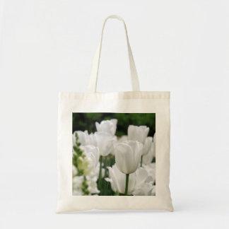 white tulip garden canvas bag