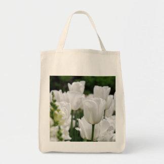 white tulip garden canvas bags