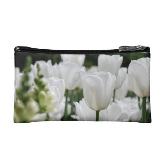 white tulip garden cosmetics bags