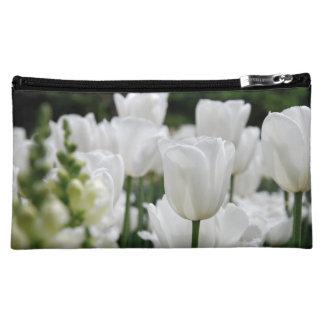 white tulip garden makeup bags