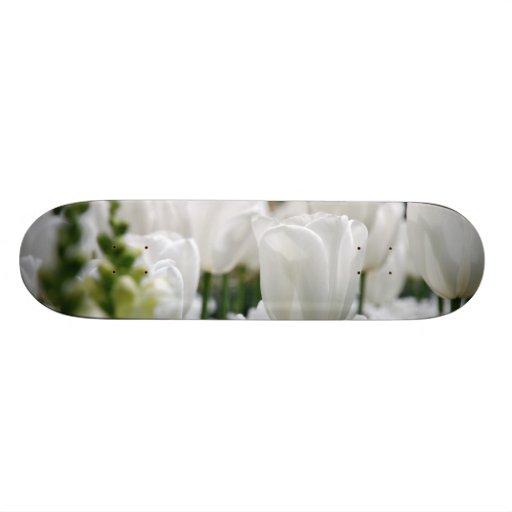 white tulip garden skate board