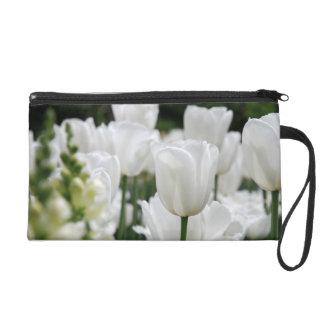 white tulip garden wristlet