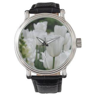 white tulip garden wristwatch