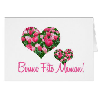white tulip hearts mother s day card french