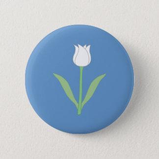 White Tulip on Blue. 6 Cm Round Badge