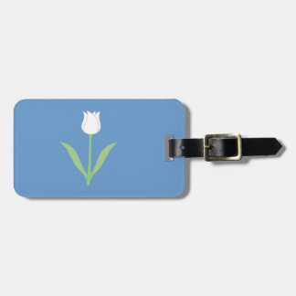 White Tulip on Blue Tag For Luggage