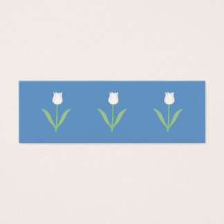 White Tulip on Blue. Mini Business Card