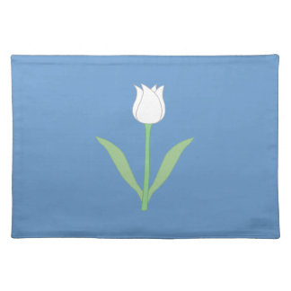 White Tulip on Blue. Placemat