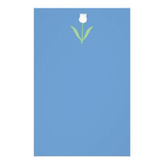 White Tulip on Blue. Stationery