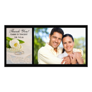White Tulip, Pearls and Rings Wedding Thank You Photo Card Template