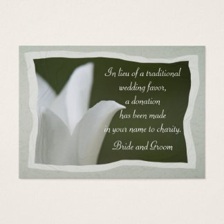White Tulip Wedding Charity Favor Card