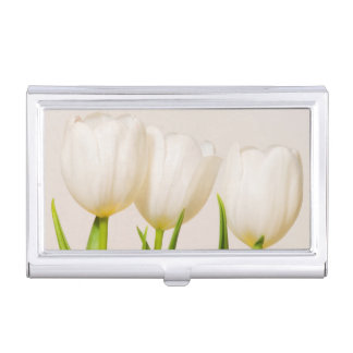 White tulips against a white background, business card holder