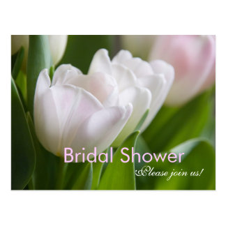 White Tulips • Bridal Shower Invitation Postcard