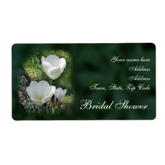 White Tulips Bridal Shower Shipping Label