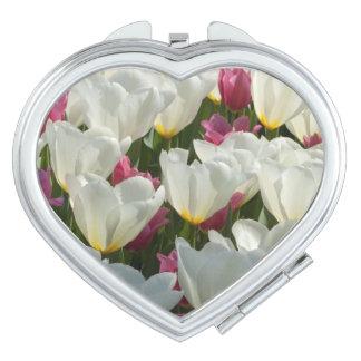 White Tulips Compact Mirror