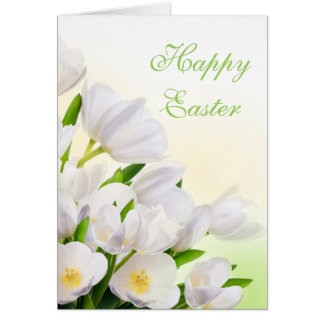 White Tulips Easter Card